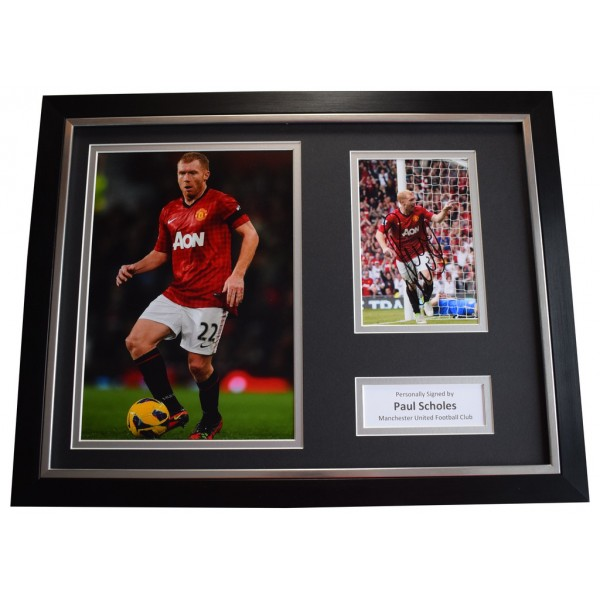 Paul Scholes SIGNED FRAMED Photo Autograph 16x12 display Manchester United  AFTAL &  COA Memorabilia PERFECT GIFT