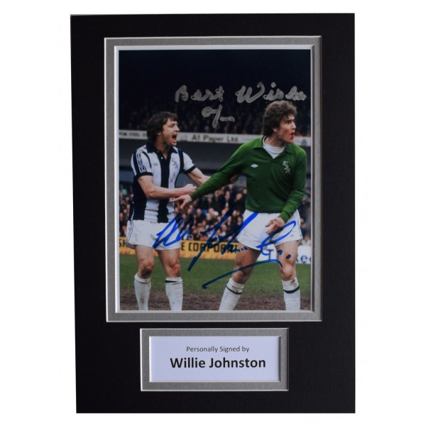 Willie Johnston Signed Autograph A4 photo display West Bromwich Albion    AFTAL  COA Memorabilia PERFECT GIFT