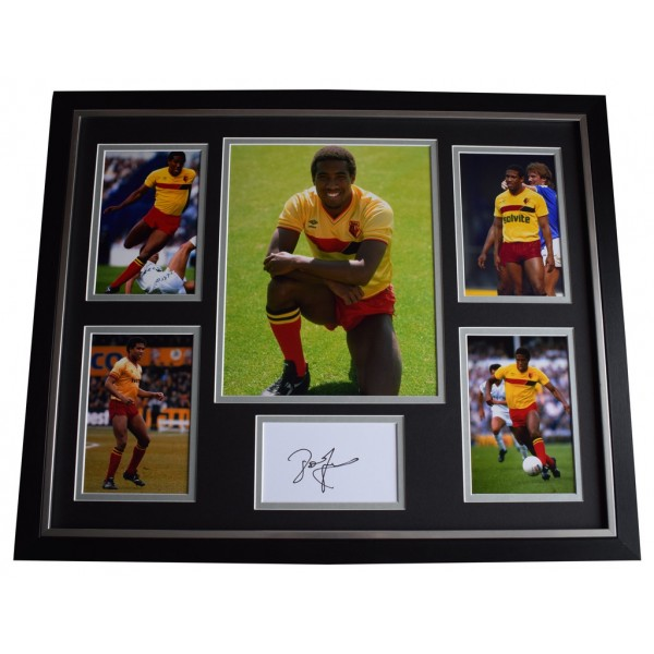 John Barnes SIGNED Framed Photo Autograph Huge display Watford Football  AFTAL &  COA Memorabilia PERFECT GIFT