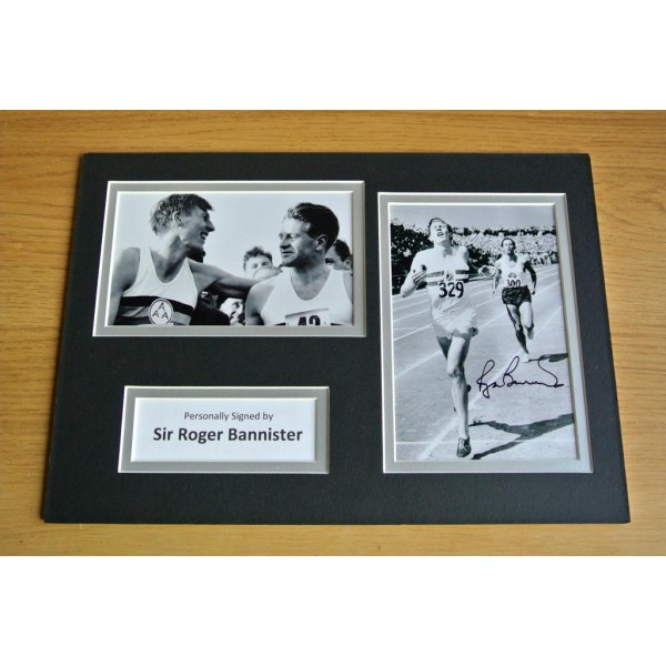 ROGER BANNISTER HAND SIGNED AUTOGRAPH A4 PHOTO DISPLAY GIFT 4 MINUTE MILE   PERFECT GIFT