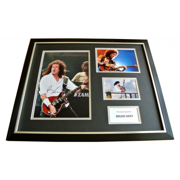 BRIAN MAY HAND SIGNED & FRAMED HUGE PHOTO DISPLAY AUTOGRAPH QUEEN & PROOF & COA    PERFECT GIFT