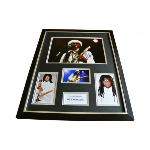 NILE RODGERS HAND SIGNED & FRAMED HUGE PHOTO DISPLAY AUTOGRAPH CHIC LE FREAK COA   PERFECT GIFT