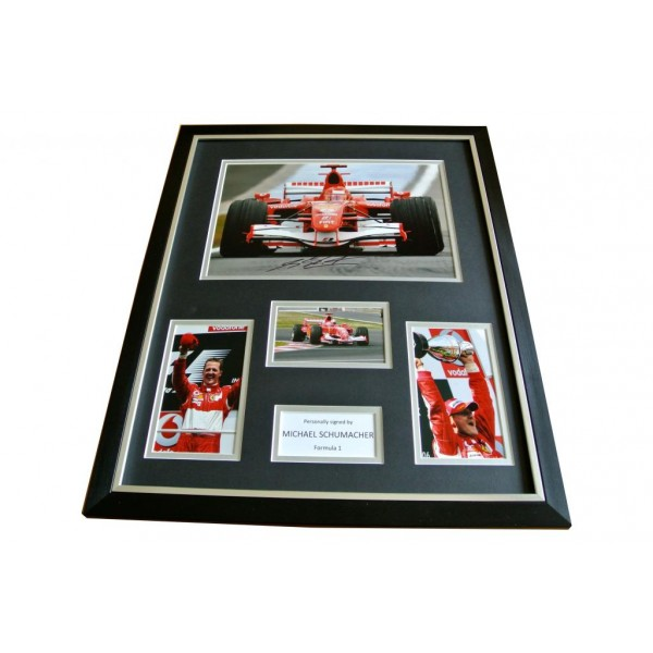 MICHAEL SCHUMACHER SIGNED & FRAMED HUGE PHOTO DISPLAY AUTOGRAPH F1 SPORT & COA  PERFECT GIFT
