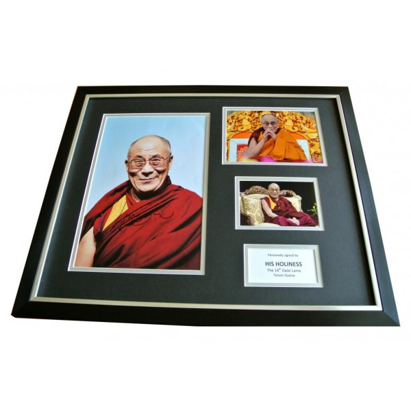 DALAI LAMA HAND SIGNED & FRAMED HUGE PHOTO DISPLAY AUTOGRAPH TENZIN GYATSO & COA   PERFECT GIFT
