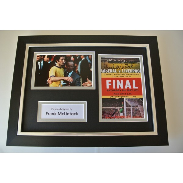 Frank McLintock Signed A4 FRAMED photo Autograph display Arsenal FA Cup 1971 COA   PERFECT GIFT