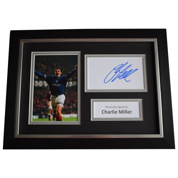 Charlie Miller Signed A4 FRAMED photo Autograph display Glasgow Rangers  AFTAL &  COA Memorabilia PERFECT GIFT