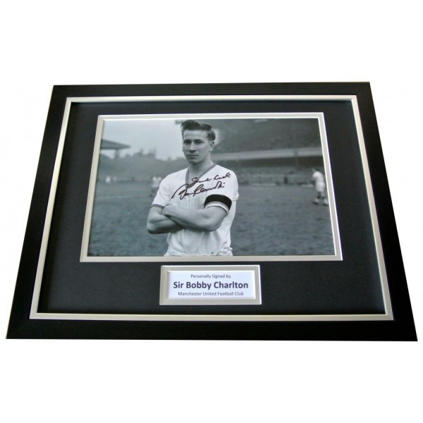 Bobby Charlton Signed & FRAMED Photo Autograph Display Manchester United COA PERFECT GIFT