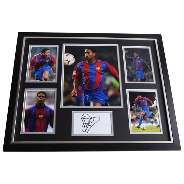 Patrick Kluivert SIGNED Framed Photo Autograph Huge display Barcelona Football AFTAL & COA Memorabilia PERFECT GIFT