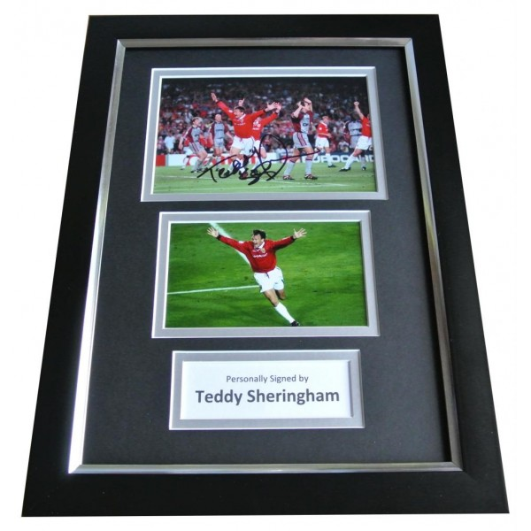 Teddy Sheringham Signed A4 FRAMED Photo Autograph Display Man Utd Football COA PERFECT GIFT