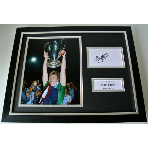 Nigel Spink SIGNED FRAMED Photo Autograph 16x12 display Aston Villa Football COA       PERFECT GIFT