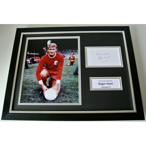 Roger Hunt SIGNED FRAMED Photo Autograph 16x12 display Liverpool Football & COA   PERFECT GIFT