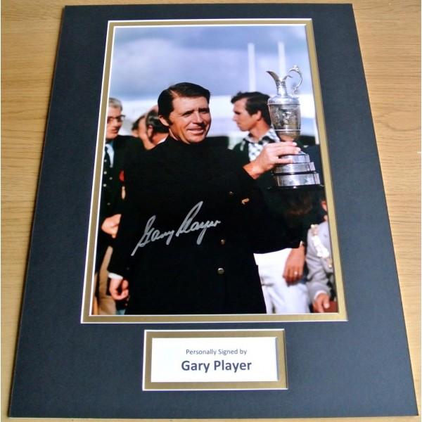 Gary Player SIGNED autograph 16x12 photo mount display Golf Open Champion & COA AFTAL Memorabilia