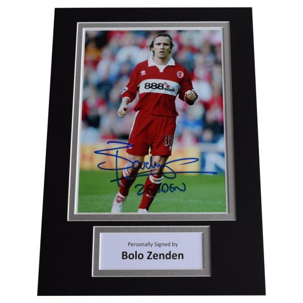 Bolo Zenden Signed Autograph A4 photo display Middlesborough Football  AFTAL  COA Memorabilia PERFECT GIFT