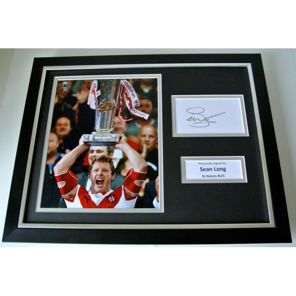 Sean Long SIGNED FRAMED Photo Autograph 16x12 display St Helens Rugby League COA   PERFECT GIFT