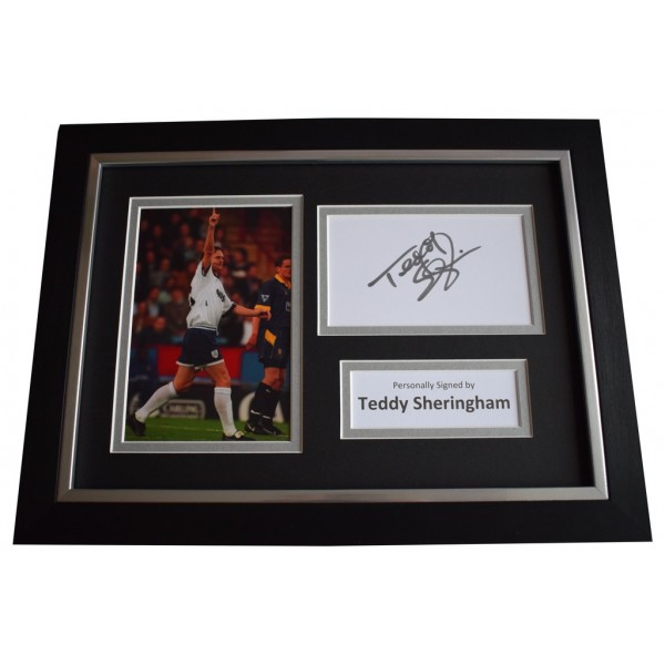 Teddy Sheringham Signed A4 FRAMED photo Autograph display Tottenham Hotspur  AFTAL &  COA Memorabilia PERFECT GIFT