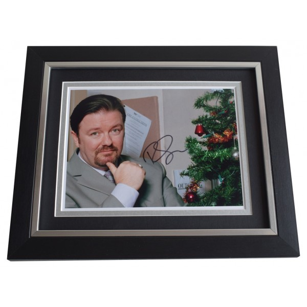 Ricky Gervais SIGNED 10x8 FRAMED Photo Autograph Display The Office   AFTAL  COA Memorabilia PERFECT GIFT