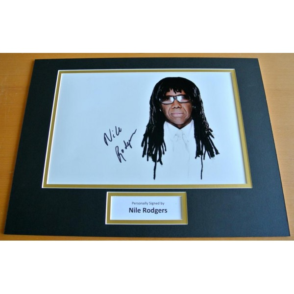 NILE RODGERS HAND SIGNED AUTOGRAPH 16x12 PHOTO MOUNT DISPLAY CHIC LE FREAK COA      PERFECT GIFT
