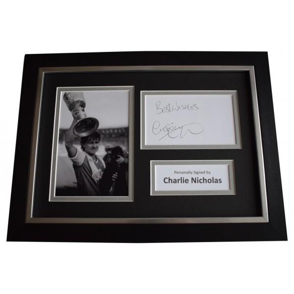 Charlie Nicholas Signed A4 FRAMED photo Autograph display Arsenal Football AFTAL &  COA Memorabilia PERFECT GIFT