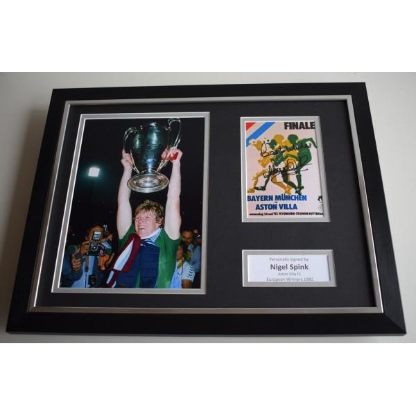 Nigel Spink SIGNED FRAMED Photo Autograph 16x12 display Aston Villa    AFTAL & COA Memorabilia PERFECT GIFT