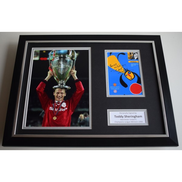 Teddy Sheringham SIGNED FRAMED Photo Autograph 16x12 display Manchester United  AFTAL & COA Memorabilia PERFECT GIFT