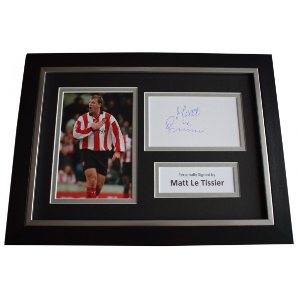 Matt le Tissier Signed A4 FRAMED photo Autograph display Southampton  AFTAL &  COA Memorabilia PERFECT GIFT
