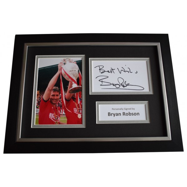 Bryan Robson Signed A4 FRAMED photo Autograph display Middlesbrough  AFTAL &  COA Memorabilia PERFECT GIFT