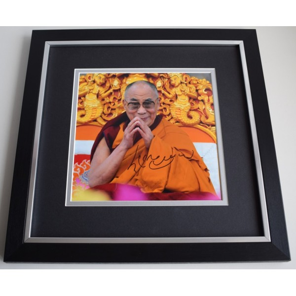 Dalai Lama SIGNED Framed LARGE Square Photo Autograph display Tenzin Gyatso   AFTAL &  COA Memorabilia PERFECT GIFT