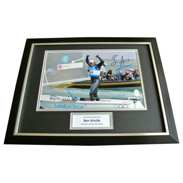 BEN AINSLIE HAND SIGNED & FRAMED AUTOGRAPH PHOTO DISPLAY OLYMPIC SAILING & COA PERFECT GIFT