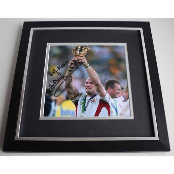 Lawrence Dallaglio SIGNED Framed LARGE Square Photo Autograph display Rugby   AFTAL &  COA Memorabilia PERFECT GIFT