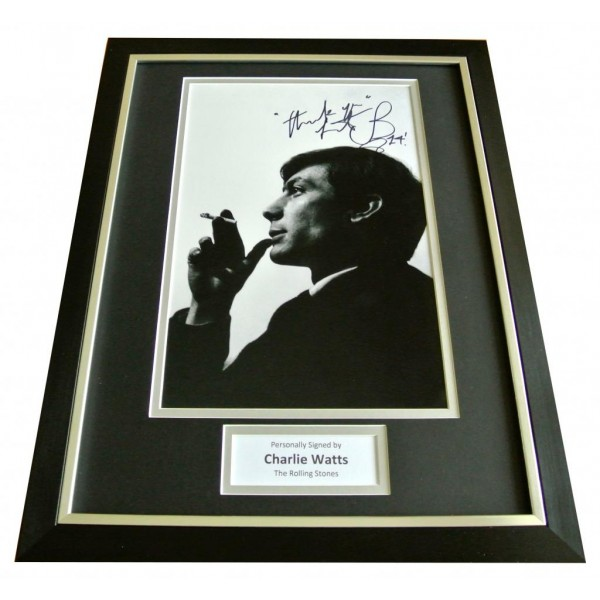 CHARLIE WATTS SIGNED & FRAMED AUTOGRAPH PHOTO DISPLAY ROLLING STONES ROCK & COA            PERFECT GIFT