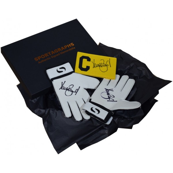 Dave Beasant SIGNED Pair Goalkeeper Gloves & Captains Armband Autograph Gift Box AFTAL &  COA Memorabilia PERFECT GIFT