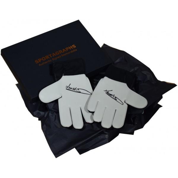 Jim Montgomery SIGNED Pair Goalkeeper Gloves Autograph Gift Box Sunderland AFTAL &  COA Memorabilia PERFECT GIFT