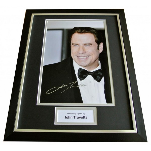 JOHN TRAVOLTA HAND SIGNED & FRAMED RARE AUTOGRAPH PHOTO DISPLAY GREASE & COA    PERFECT GIFT