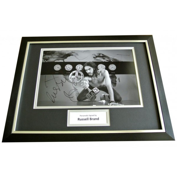 RUSSELL BRAND SIGNED & FRAMED GENUINE AUTOGRAPH PHOTO DISPLAY COMEDIAN & COA      PERFECT GIFT