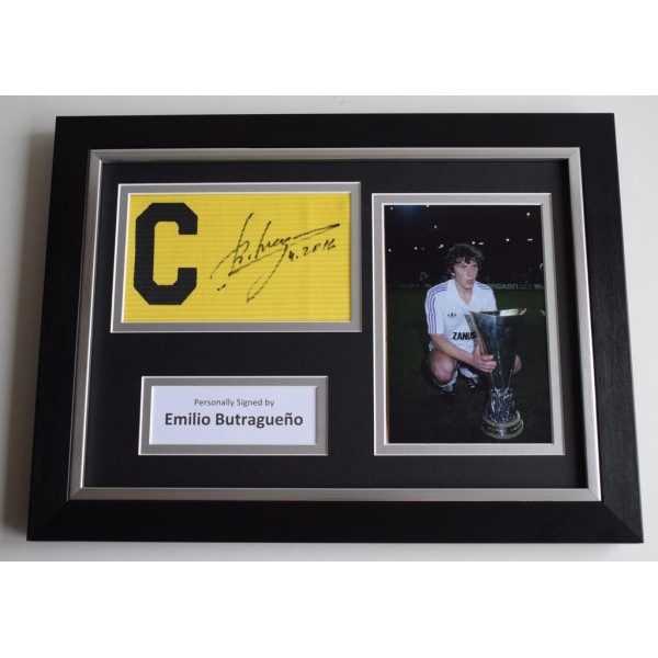 Emilio Butragueno SIGNED FRAMED Captains Armband A4 Display Real Madrid   AFTAL & COA Memorabilia PERFECT GIFT