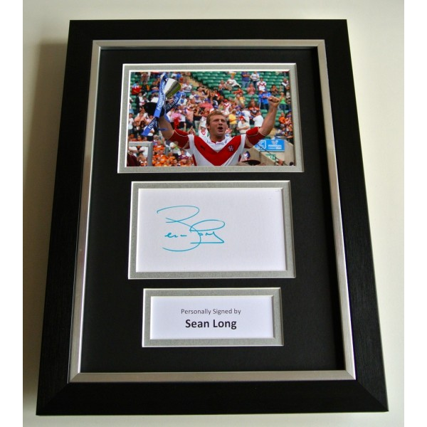 Sean Long SIGNED A4 FRAMED Photo Autograph Display St Helens Rugby League & COA    PERFECT GIFT
