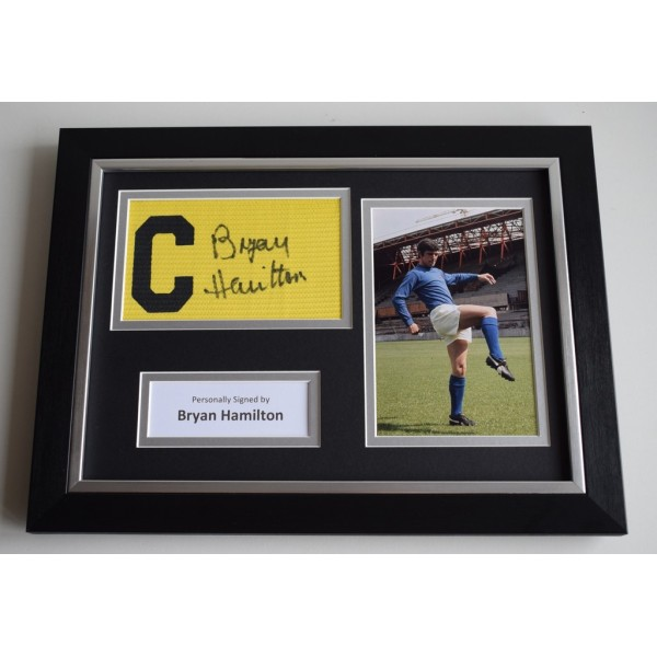 Bryan Hamilton SIGNED FRAMED Captains Armband A4 Display Ipswich Town PROOF  AFTAL & COA Memorabilia PERFECT GIFT