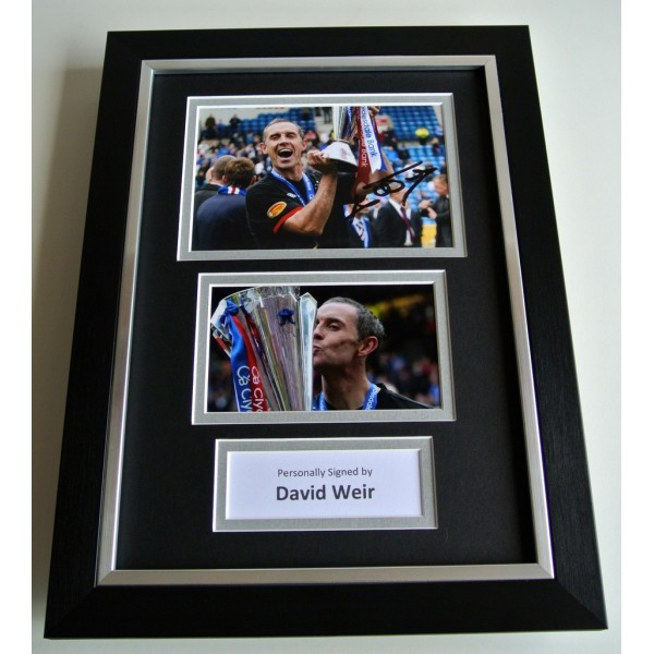 David Weir SIGNED A4 FRAMED Photo Autograph Display Glasgow Rangers Football COA   PERFECT GIFT
