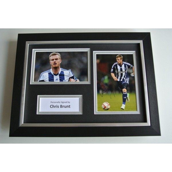 Chris Brunt SIGNED A4 FRAMED Photo Autograph Display West Bromwich Albion & COA     CLEARANCE