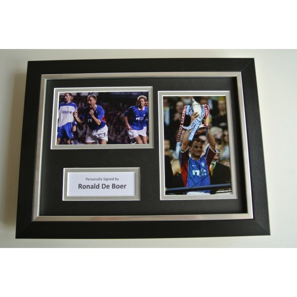 Ronald de Boer SIGNED A4 FRAMED Photo Autograph Display Rangers Football & COA     PERFECT GIFT