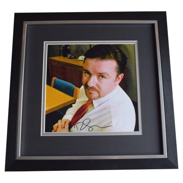 Ricky Gervais SIGNED Framed LARGE Square Photo Autograph display The Office  AFTAL  COA Memorabilia PERFECT GIFT