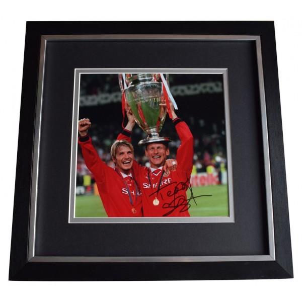 Teddy Sheringham SIGNED Framed LARGE Square Photo Autograph display Man Utd   AFTAL  COA Memorabilia PERFECT GIFT