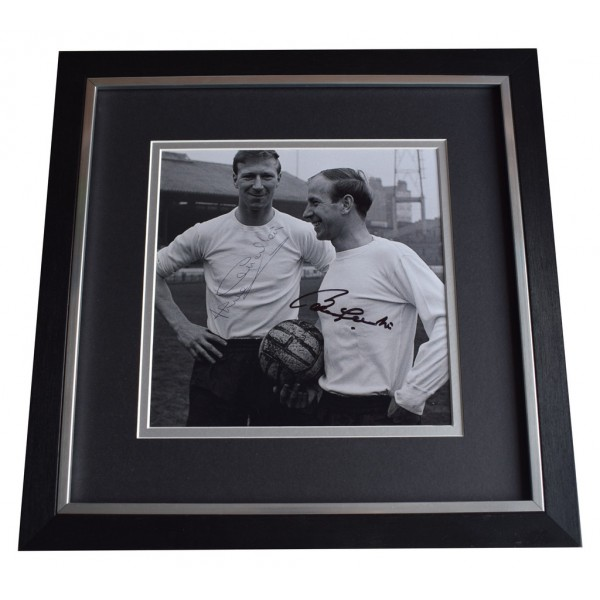 Bobby & Jack Charlton SIGNED Framed LARGE Square Photo Autograph display England AFTAL  COA Memorabilia PERFECT GIFT