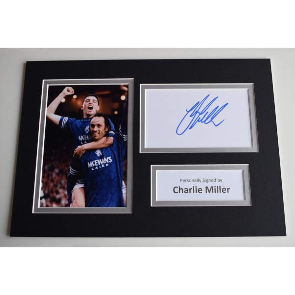 Charlie Miller Signed Autograph A4 photo display Glasgow Rangers AFTAL  COA Memorabilia PERFECT GIFT