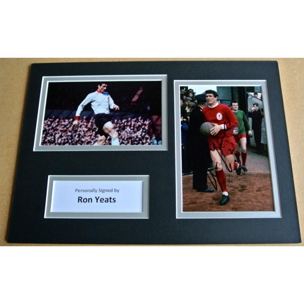 RON YEATS GENUINE HAND SIGNED AUTOGRAPH A4 PHOTO DISPLAY LIVERPOOL GIFT & COA PERFECT GIFT