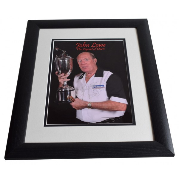 John Lowe SIGNED FRAMED Photo Autograph 16x12 LARGE Darts display  AFTAL & COA Memorabilia PERFECT GIFT