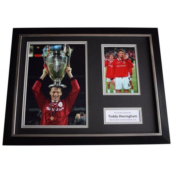 Teddy Sheringham SIGNED FRAMED Photo Autograph 16x12 display Manchester United  AFTAL  COA Memorabilia PERFECT GIFT