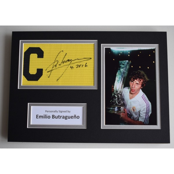 Emilio Butragueno SIGNED Captains Armband A4 Photo Display Real Madrid  AFTAL & COA Memorabilia