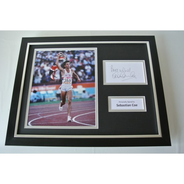 Sebastian Coe SIGNED FRAMED Photo Mount Autograph 16x12 display Olympics & COA             PERFECT GIFT