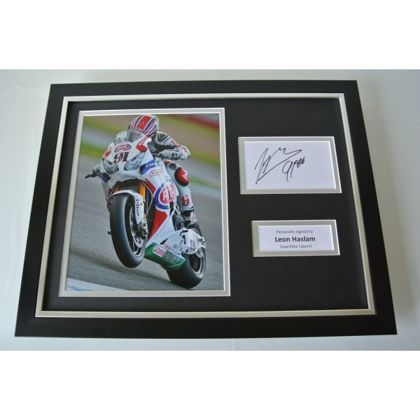 Leon Haslam SIGNED FRAMED Photo Autograph 16x12 display Superbikes Sport & COA   PERFECT GIFT